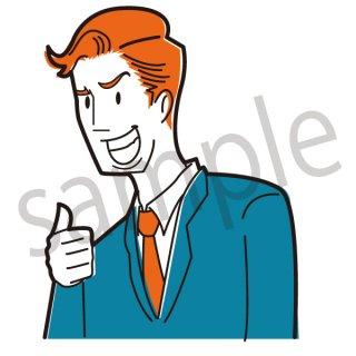 グッドサインをするサラリーマン  イラスト(ビジネスシーン、仕事、会社員、サラリーマン)