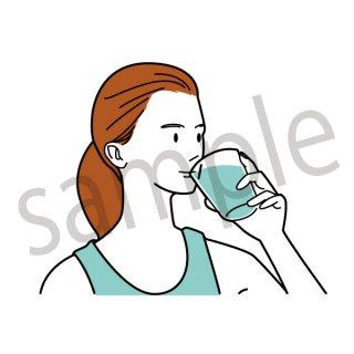 水を飲む人 イラスト(ヘルスケア、健康、ダイエット)