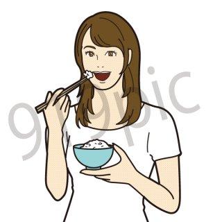 白米を食べる人 女性(ご飯、ごはん、白飯、米、食事、健康、ダイエット、ベジタブル、朝食、)
