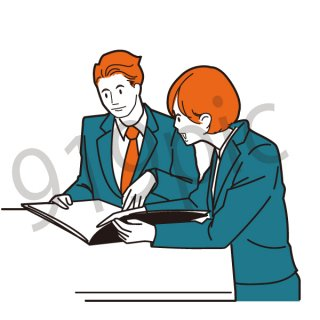 ミーティング イラスト(打ち合わせ、ネクタイ、スーツ、ビジネス、サラリーマン,アメコミ)