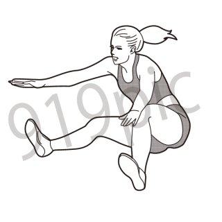 幅跳び 陸上  イラスト(棒高跳び、スポーツ、オリンピック)