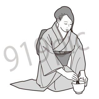 茶道 イラスト(日本文化、和、着物、女性)