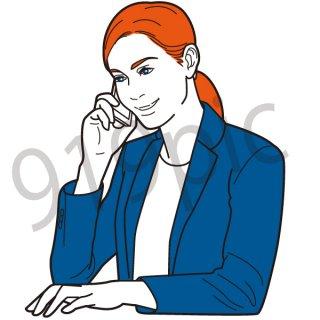電話をかけるビジネスウーマン イラスト(女性、サポートセンター、会社員、営業、ビジネスマン、ジェスチャー)