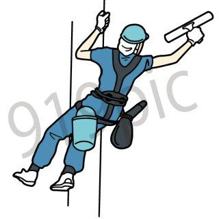 窓を清掃する人 イラスト(清掃、業者、仕事、ビル)