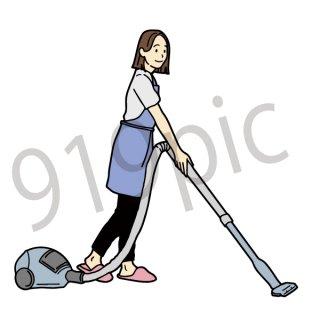 掃除機で掃除をする女性 イラスト(清掃、大掃除、家事、主婦)
