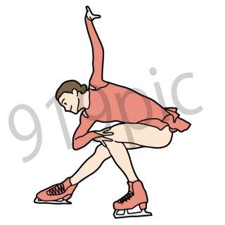 フィギアスケート イラスト(スポーツ、スケート、女性)
