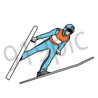 スキージャンプ  イラスト(スポーツ、冬季、オリンピック、スキー)