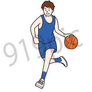 バスケットボール ドリブル イラスト(ボール、バスケ、スポーツ)