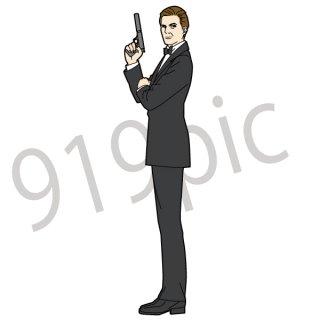 スパイ イラスト(映画、007、スーツ、タキシード、銃を持つ人)