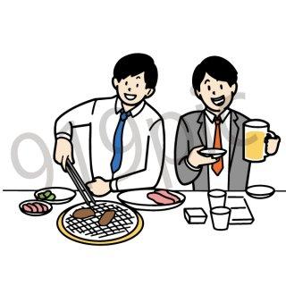 焼肉 イラスト(飲み会、飲み屋、居酒屋、打ち上げ、サラリーマン、焼肉を食べる)