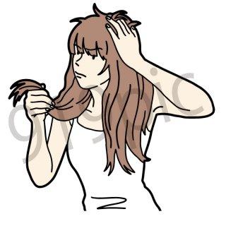 髪の毛 寝癖 イラスト(ボサボサ、ねぐせ、美用院、髪の毛が伸びている、女性、)