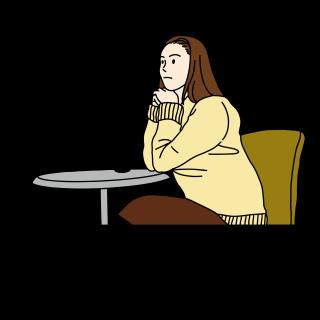 カフェでボーッとする女性 イラスト(休日、喫茶店、お茶、コーヒー)