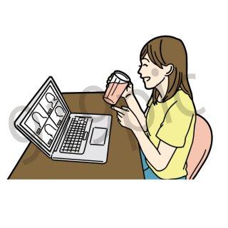 オンライン飲み会 イラスト(飲み会、飲み屋、居酒屋、打ち上げ、サラリーマン、焼肉を食べる、オンライン、宅飲み)