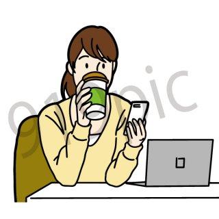 カフェで仕事する女性 イラスト(休日、喫茶店、お茶、コーヒー)