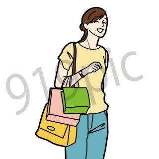 買い物をする女性 イラスト(女性、セール、量販店、初売り、ショッピング、買い物)