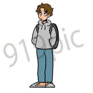 パーカーを着た男性 イラスト(大学生、学生、専門学生)