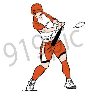 ソフトボール バッター イラスト(スポーツ、ボール、投球、試合)