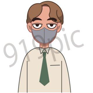マスクをするサラリーマン イラスト(ビジネスシーン、仕事、会社員、サラリーマン,緊急事態宣言,パンデミック)