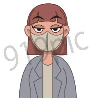 マスクをするビジネスウーマン イラスト(ビジネスシーン、仕事、会社員、サラリーマン,緊急事態宣言,パンデミック)