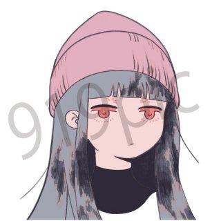 ニット帽子をかぶった女性 イラスト(冬、女性、ファッション、顔、ヘアスタイル、アート、)