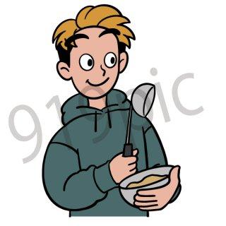 料理する男性 イラスト(お玉、ボール、クッキング、ホットケーキ、)