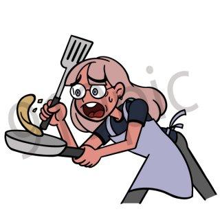 料理をする女性 イラスト(フライパン、クッキング、ホットケーキ、失敗、驚く、リアクション)