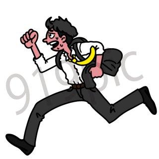 走るサラリーマン イラスト(ビジネスシーン、仕事、会社員、サラリーマン,遅刻、打ち合わせ、待ち合わせ、ビジネスマン)