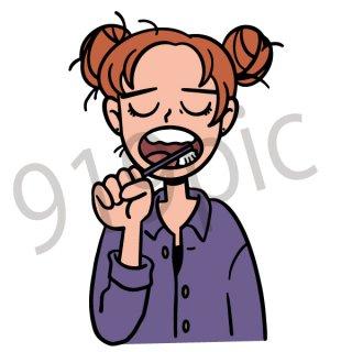 歯磨きをする女性 イラスト(ヘルスケア、健康、美容、朝、ルーティーン、虫歯)