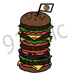 ハンバーガー イラスト(フード、食べ物、ジャンクフード、、メガ盛り、大盛、料理)