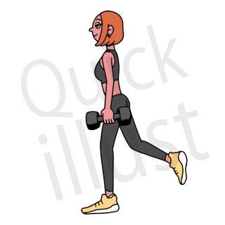 筋トレをする女性 イラスト(筋トレ、ダイエット、運動、ストレッチ、トレーニング、ダンベル)