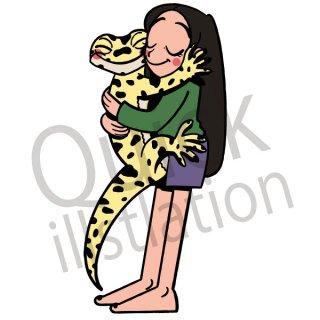 トカゲと女性 イラスト(トカゲ、爬虫類、ペット)
