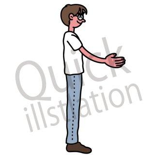 手を広げる男性 イラスト(受け取る、笑顔、手渡す)
