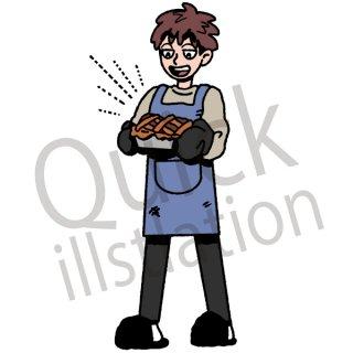 パンを作るする男性 イラスト(手作り、クッキング、晩御飯、朝食、パン、料理)