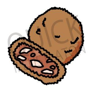 コロッケ イラスト(フード、食べ物、和食、料理、揚げ物、カツ、トンカツ)