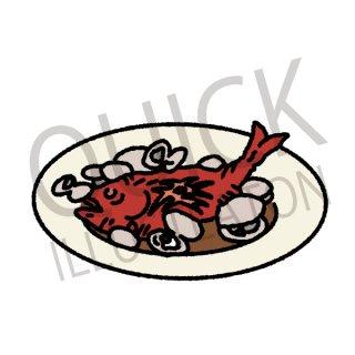 アクアパッツァ イラスト(シーフード、魚、フード、食べ物、料理、イタリア料理、ナポリ料理)