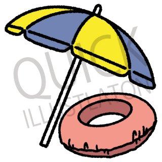 パラソルと浮き輪 イラスト(海水浴、海、遊泳、夏休み、アイコン、夏、)