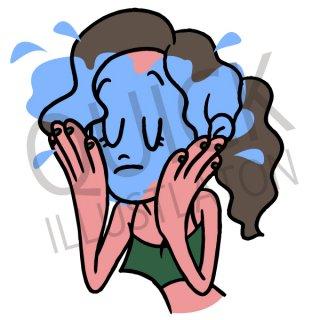 洗顔 イラスト(女性、美容、スキンケア)