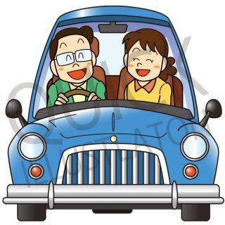ドライブをする夫婦 イラスト(女性、男性、夫婦、カップル、旅、旅行、車、デート)