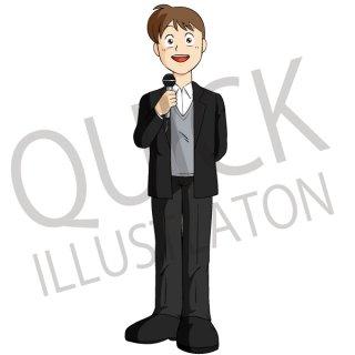 男性リポーター イラスト(ビジネス、スーツ、案内、笑顔、司会者、ニュース)