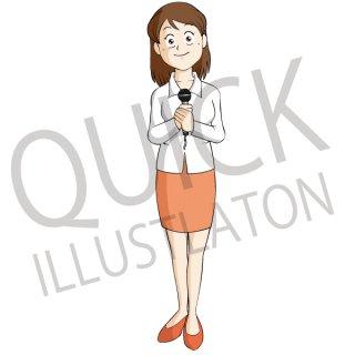 女性リポーター イラスト(ビジネス、スーツ、案内、笑顔、司会者、ニュース、紹介)