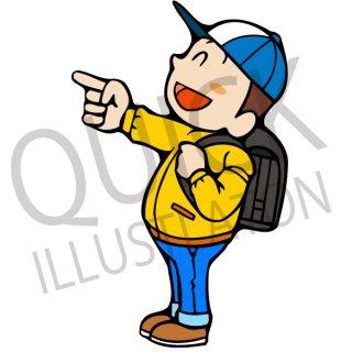 笑顔で指を差す小学生 イラスト(小学校、紹介、案内、道案内、スマイル、ランドセル)