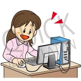 パソコン操作をする女性 イラスト(ビジネスシーン、女性、パソコン、ビジネスウーマン、ネットショップ、デスクトップ、pc、ネットサーフィン、プログラミング)