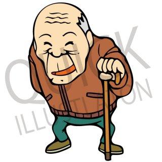 杖をつく老人 イラスト(おじいさん、おじいちゃん、お年寄り)