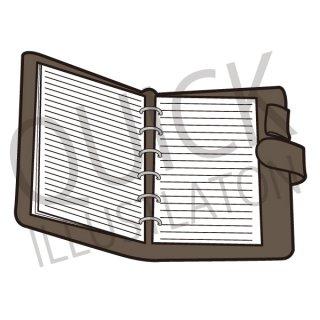 手帳 イラスト(スケジュール、皮の手帳、スケジュール帳)