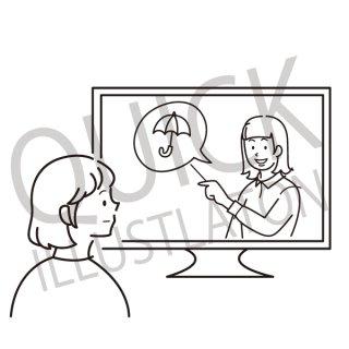 天気予報を見る女性 イラスト(天候、テレビを見る女性、tv、)