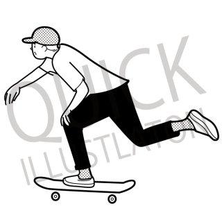 スケートボードに乗る男性 イラスト(スケボー、ストリート)