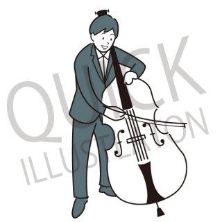 チェロ奏者 イラスト(音楽、ジャズ、クラシック音楽、ミュージック)