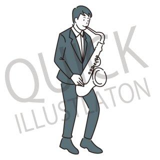 トランペット奏者 イラスト(音楽、ジャズ、クラシック音楽、ミュージック)