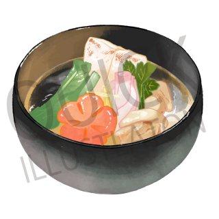 お雑煮 イラスト(食べ物、夕食、料理、クッキング、和食、お吸い物、)