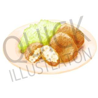 コロッケ イラスト(食べ物、夕食、料理、クッキング、和食、揚げ物、)